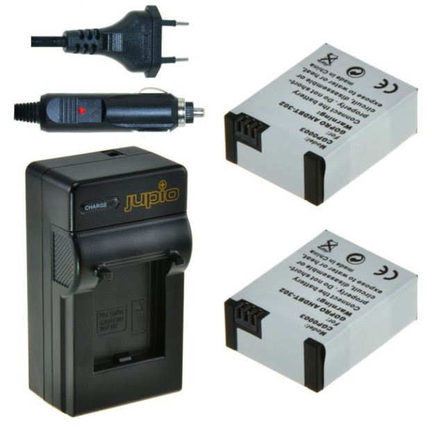 Jupio 2x Battery AHDBT-302 Charger for GoPro Kit