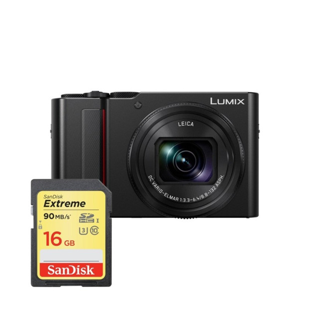 Panasonic Lumix DC-TZ200 zwart + 16GB geheugenkaart