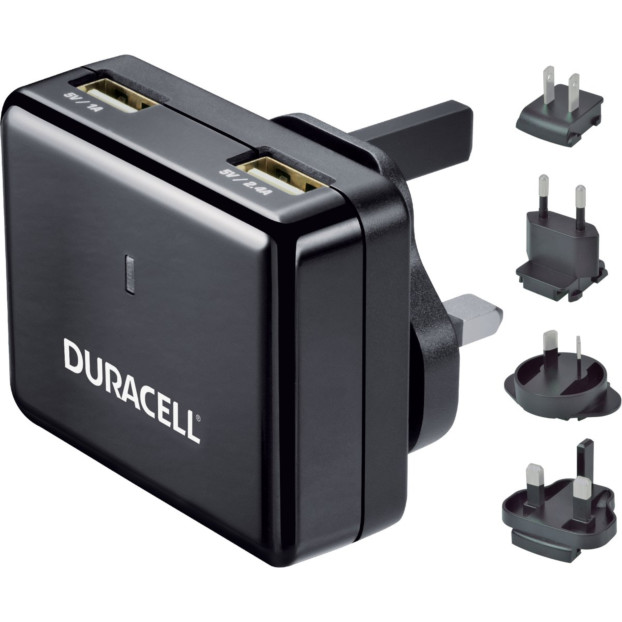 Duracell Twin USB lader (5V/1A+2,4A) incl. wereld stekkers