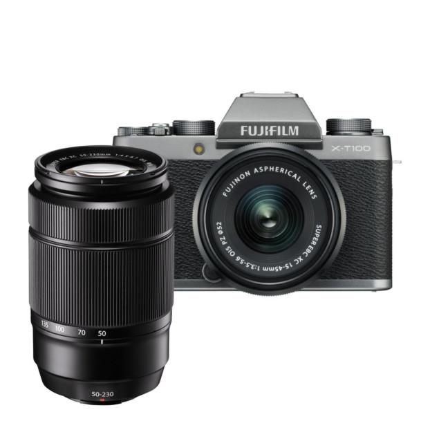 Fujifilm X-T100 zilver + XC 15-45mm  + XC 50-230mm II