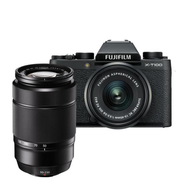 Fujifilm X-T100 zwart + XC 15-45mm + XC 50-230mm II