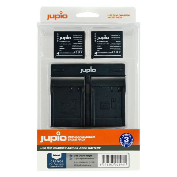 Jupio Kit: 2x Battery DMW-BLG10 + USB Dual Charger CPA1006