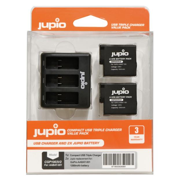 Jupio 2x Battery GoPro AABAT-001 HERO5/6/7, HERO (2018) 1260mAh + Compact USB Triple Charger CGP1003V2