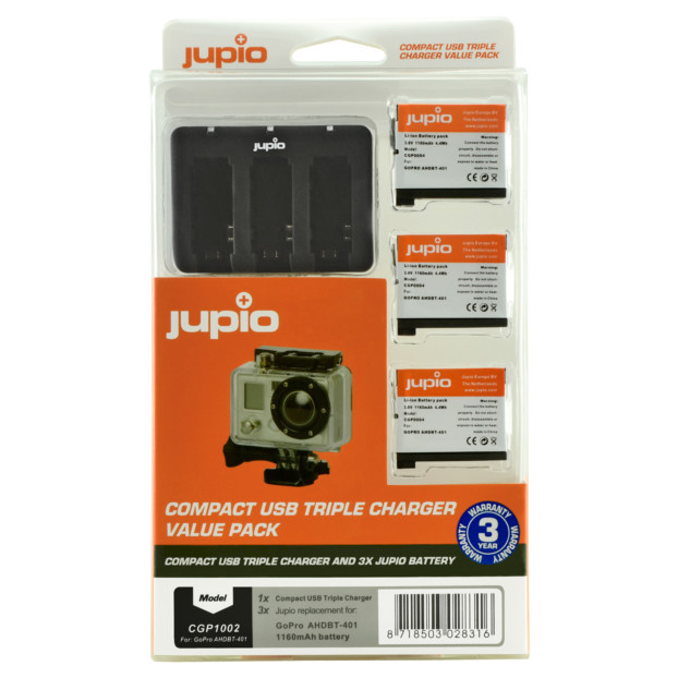 Jupio 3x Battery GoPro AHDBT-401 HERO4 1160mAh + Compact USB Triple Charger CGP1002