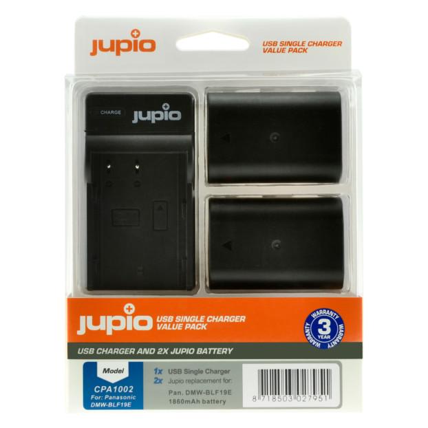 Jupio Kit: 2x Battery DMW-BLF19E 1860mAh + USB Single Charger CPA1002