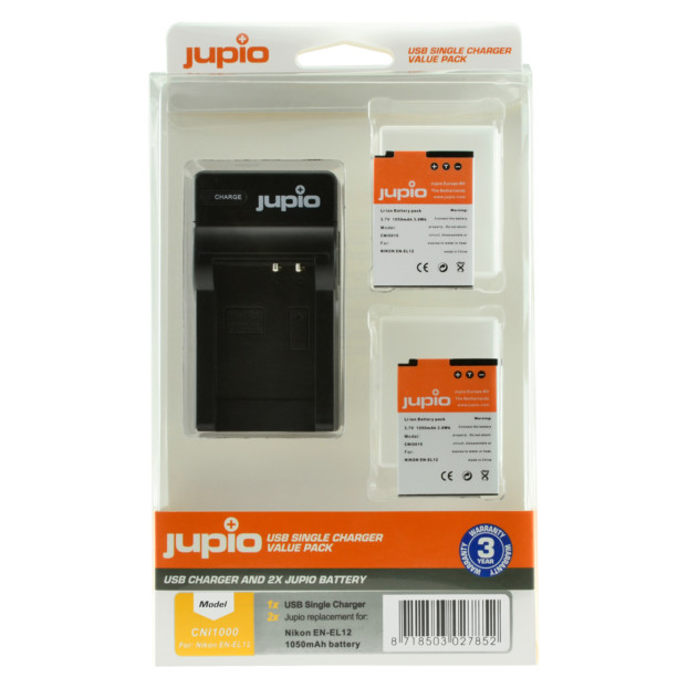 Jupio Kit: 2x Battery EN-EL12 + USB Single Charger CNI1000