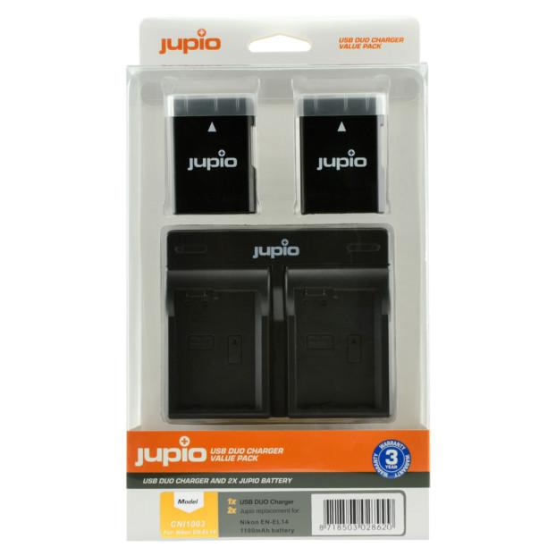 Jupio Kit: 2x Battery EN-EL14/EN-EL14A 1100mAh + USB Dual Charger CNI1003V4
