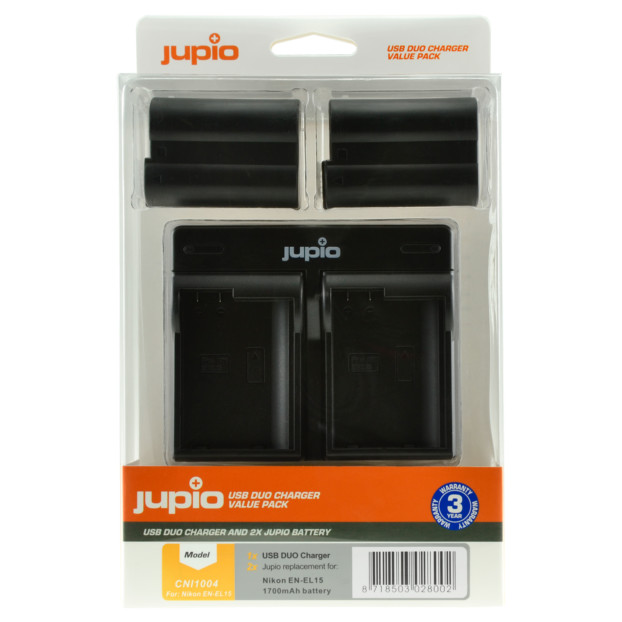 Jupio Kit: 2x Battery EN-EL15 1700mAh + USB Dual Charger CNI1004V2