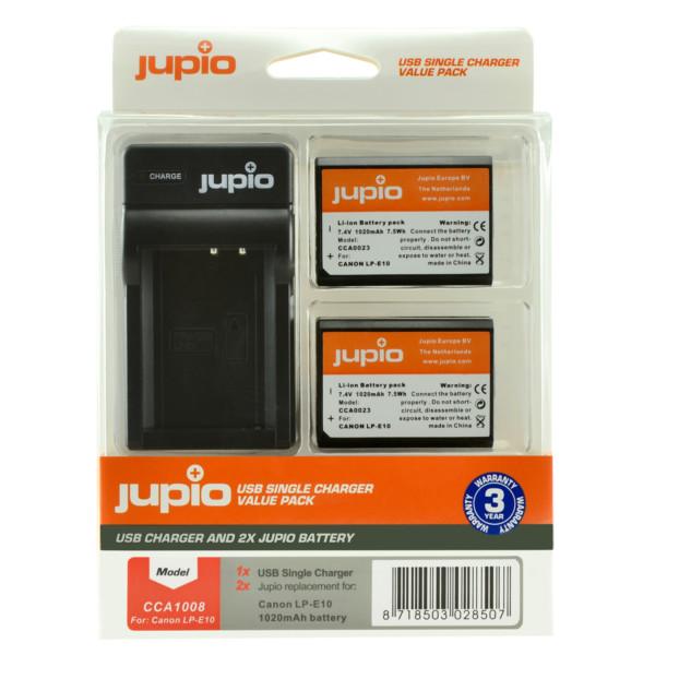 Jupio Kit: 2x Battery LP-E10 + USB Single Charger CCA1008