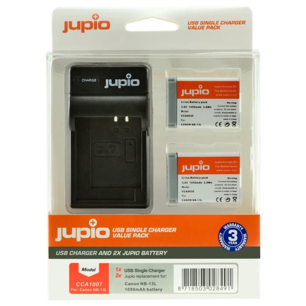 Jupio Kit: 2x Battery NB-13L + USB Single Charger CCA1007