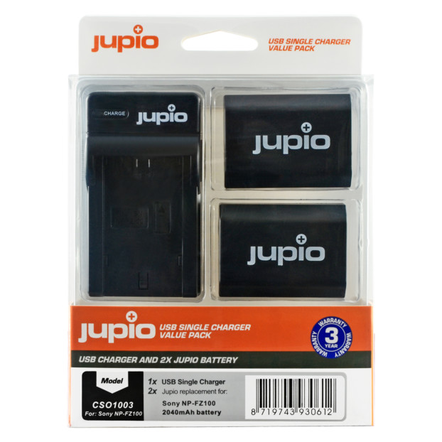 Jupio Kit: 2x Battery NP-FZ100 + USB Single Charger CSO1003V2