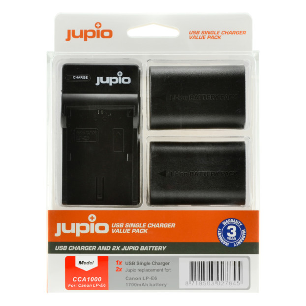 Jupio Kit: 2x Battery LP-E6 1700mAh + USB Single Charger CCA1000