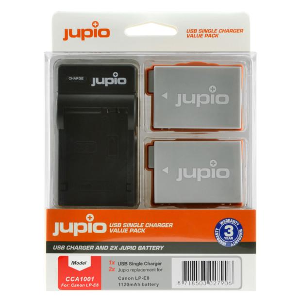 Jupio Kit: 2x Battery LP-E8 1120mAh + USB Single Charger CCA1001