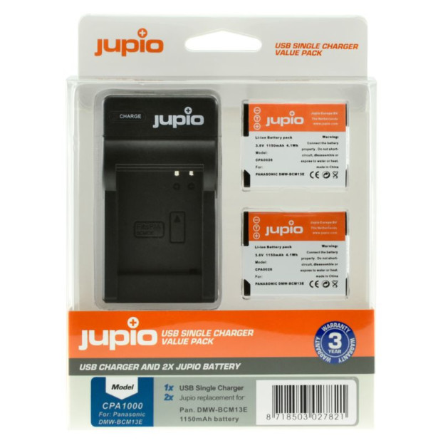 Jupio Kit: 2x Battery DMW-BCM13E + USB Single Charger