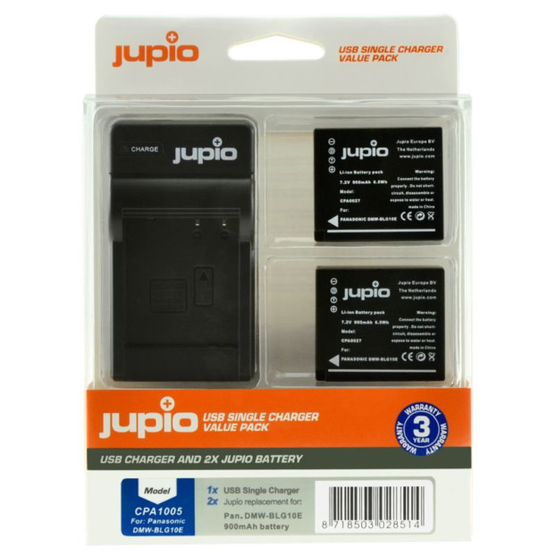 Jupio Kit: 2x Battery DMW-BLG10 + USB Single Charger
