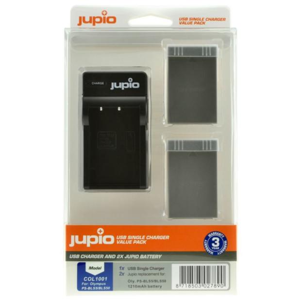 Jupio Kit: 2x Battery PS-BLS5/PS-BLS50 + USB Single Charger