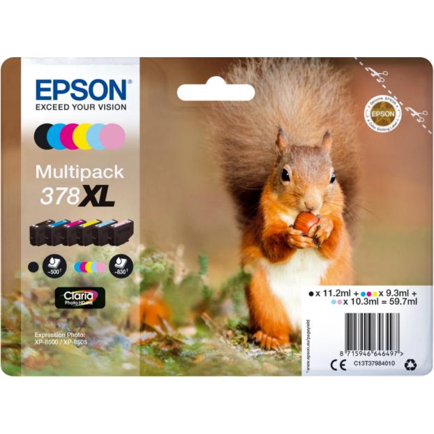 Epson 378 Claria Photo HD inktpatroon | Multipack 6 kleuren XL