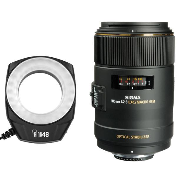 Sigma 105mm f/2.8 Macro Canon EF + Godox Ring 48 Macrolamp